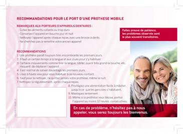Recommandations pour le port d'une prothèse mobile, 100 exemplaires